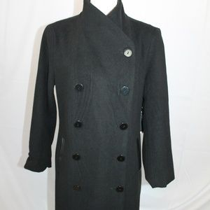 Harve Benard Black Pea Coat Jacket Lined Large NEW